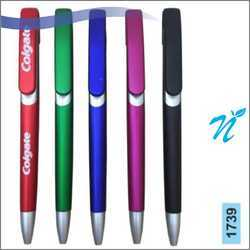 Plastic Slide Pen with Metallic Colours