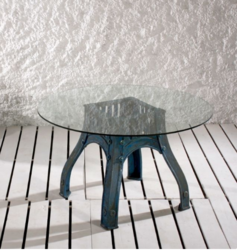 Industrial Autohas Cast Iron Cafe Table With Glass Top