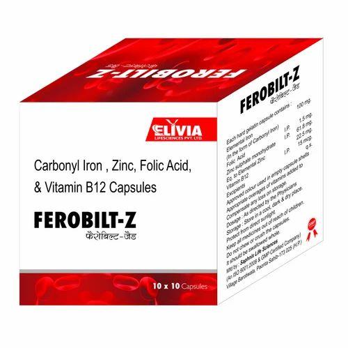Ferobilt-Z Carbonyl Iron,Zinc, Folic Acid,Vitamin B12 Capsules, 10 X 10 Capsules, Packaging Type: Box