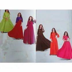 Party Wear Plain Ladies Long Gown, Size: L- Xxl