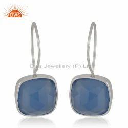 Blue Chalcedony Sterling Silver Hook Earring Jewelry