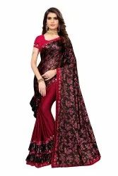 Women's Designer Printed Lycra Fabric Ruffle Saree (Red), 6.30m (with Blouse Piece)
