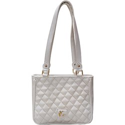 Mist Ladies White PU Leather Quilted Handbag