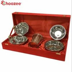 Choozee - Copper/Stainless Steel Handi, Bucket and Kadhai Set (5 Pcs)