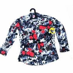 Cotton Full Sleeve Printed Ladies Shirt