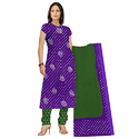 Cotton Silk Purple With Green Bandhani Suit
