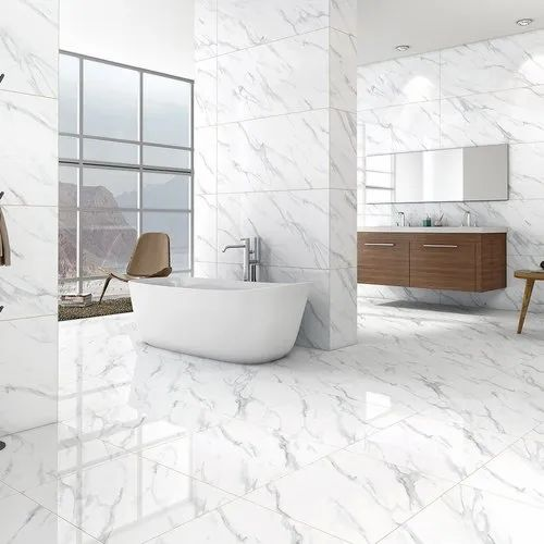 Polished Glazed Vitrified Tiles Gloss Bianco Alasmo Floor Tile, Size: 600 x 600 mm, Thickness: 5-10 mm
