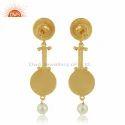 Gold Plated Silver Designer Enamel Natural Pearl Earrings