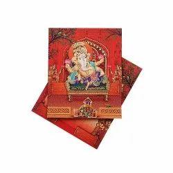 Invitation Card Paper RED GANESHA, Size: Rectangular