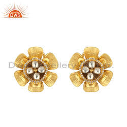 Gold Plated Silver Flower Design Crystal Quartz CZ Stud Earrings Jewelry