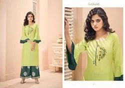 Mirror -Gulkand Party Wear For Dolla Silk With Hand Work Designer Kurtis With Palazzo