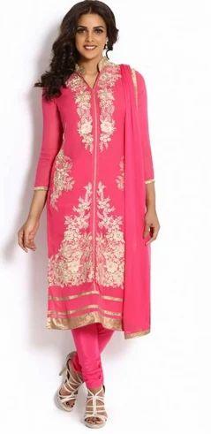 e5a96d724c ... Salwar Kameez >Pink And Gold Georgette Suit Set. Pink And Gold  Georgette Suit Set