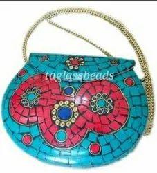 Tibetan  Firoza And Red Turquoise Boho Bag Gipsy Style  Metal Bag
