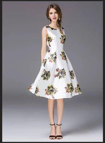569f711d3 Sleeveless Satin Printed Exclusive Western Dress