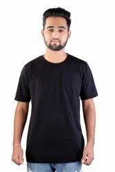 Cotton Men Black Plain T Shirts