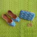Blue Designer Jutti With Matching Clutch
