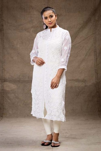 White lucknowi dress