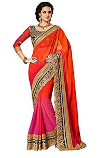 0aa9959c94 Kuvarba Fashion Orange Georgette Saree With Blouse Piece at Rs 999 ...