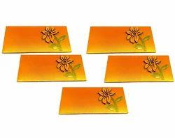 Artshai Yellow and Orange Flower Design Shagun Envelope for Marriage (Pack of 5)