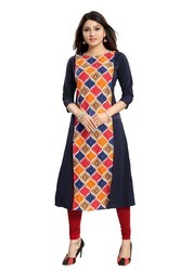 Designer Women Long Crepe Kurtis
