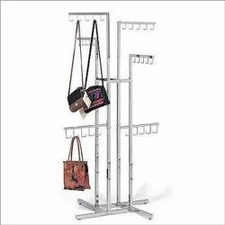 Silver Free Standing Unit Display Stand For Handbags, For Showroom, Size: 5 Feet