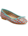 Women Woven Leather Red And Sky Blue Ballerinas Sandles