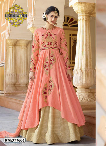 Peach Party Wear Wedding Designer Dress