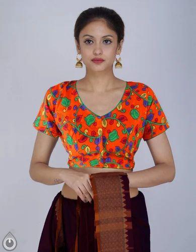 f3b0b0cee976f3 Printed Pure Floral Kalamkari Cotton Stitched Blouse