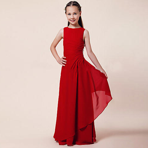 Girls Red Partywear Gown