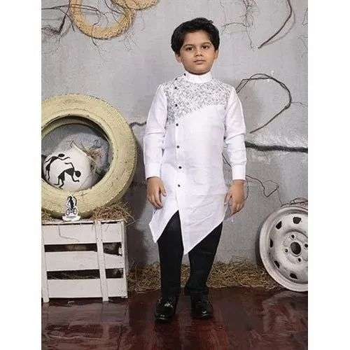 bc742d0ad3c White And Black Cotton Boys Stylish Kurta Pyjama