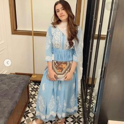Girl Georgette Anarkali Embroidered Designer Kurtis