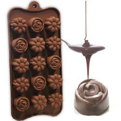 15-Cavity Mix Flowers Shape Silicone Brown Chocolate Moulds - Chocolate Mound Silicon