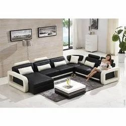 Black and White Corner Sofa Set