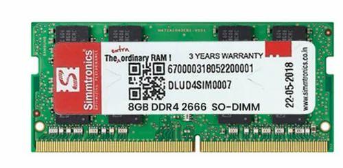 Simmtronics 8 GB DDR4 Laptop RAM 2666 MHz   ID: 20185167112