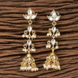 Metal Alloy Indo Western Jhumkis with Gold Plating 101158
