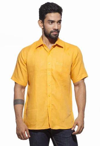 861b79bff6d8bc Turmeric 100% Linen Dennis Morton Men' s Casual Half Sleeve Linen Shirt