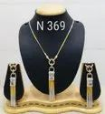 Nikita Plus Brass American Diamond Pendant Set