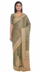 Olive Green Party Wear saree