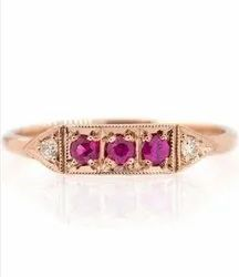 Pink Ruby Triple Zamora Ring in Rose Gold