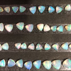 Natural Ethiopian Opal Gemstone Smooth Flatback Trillion Cabs