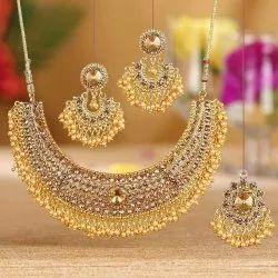 Golden Brass Fancy Jewellery Set, Size: Free Size