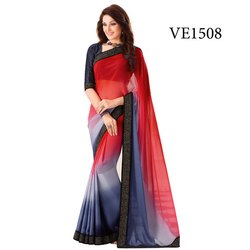 Blue And Red Plain Silk Sarees, With Blouse, 5.5 M (separate Blouse Piece)