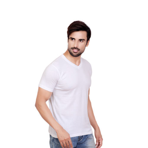 888adf3d White V Neck T Shirt, Size: Medium And Extra Large, Rs 240 /piece ...