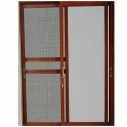 Upto 6 Feet Brown Aluminium Mosquito Net Sliding Window