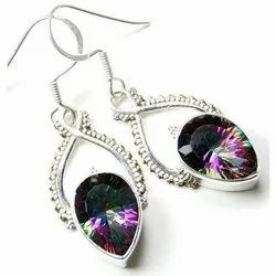 Mystic Topaz 925 Sterling Silver High End Furnished Earrings