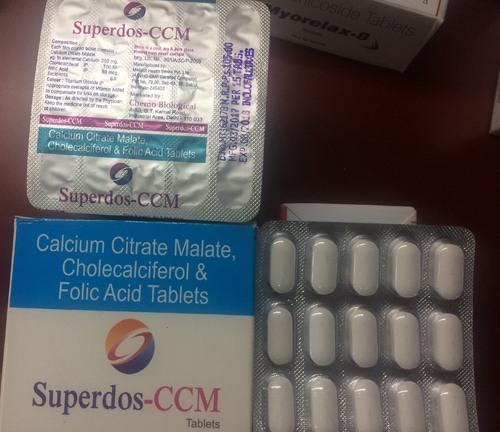 Calcium Citrate Malate, Cholecalciferol & Folic Acid Tablets, Packaging Type: Blister