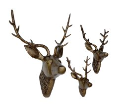 Metal Deer Head Statue Wall Sculpture Stag Set Animal
