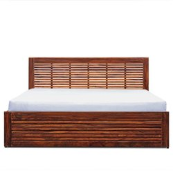Brown Strips King Size Wooden Bed, Warranty: 5 Year, Size: 78x72x18 Inch
