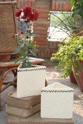 Ceramic Tringular Black Painted Planter