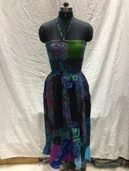 Assorted Patch Work Ladies Jun-glee Bobbin Long Dress With Stripe